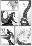 2girls attack clenched_teeth comic emphasis_lines godzilla godzilla_(series) greyscale highres horns jumping kishida_shiki long_hair looking_at_another monochrome motion_lines multiple_girls nude running shin_godzilla silent_comic speed_lines tail teeth