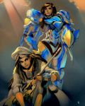2girls ana_(overwatch) beret black_hair captain_amari clouds cloudy_sky commentary commission dark_skin david_liu english_commentary eye_of_horus hat helmet highres long_hair mechanical_wings mother_and_daughter multiple_girls overwatch pharah_(overwatch) power_armor sky time_paradox wings younger
