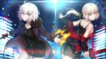 2girls artoria_pendragon_(all) bangs bare_shoulders black_camisole black_dress black_jacket black_shorts blue_jacket breasts brown_eyes camisole commentary_request dark_excalibur dress eyebrows_visible_through_hair fate/grand_order fate/stay_night fate_(series) fur-trimmed_jacket fur-trimmed_sleeves fur_trim hair_between_eyes holding holding_sword holding_weapon jacket jeanne_d'arc_(alter)_(fate) jeanne_d'arc_(fate)_(all) jet_black_king_of_knights_ver._shinjuku_1999 light_brown_hair long_hair long_sleeves looking_at_viewer looking_back low_ponytail medium_breasts mishiro0229 multiple_girls open_clothes open_jacket parted_lips ponytail saber_alter short_shorts shorts sleeves_past_wrists smile sword v-shaped_eyebrows weapon white_hair wicked_dragon_witch_ver._shinjuku_1999