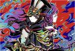 2girls closed_eyes fire gloves hat highres kagutsuchi_(xenoblade) meleph_(xenoblade) military military_hat military_uniform moppara_koruku multicolored multicolored_background multiple_girls nintendo pauldrons purple_hair short_hair uniform xenoblade_(series) xenoblade_2