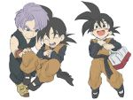 2boys :d ^_^ bag black_hair black_legwear blush blush_stickers boots clenched_hands clone closed_eyes closed_eyes dougi dragon_ball dragonball_z eyebrows_visible_through_hair fingernails floating frown full_body grey_eyes hand_on_another's_knee hands_on_own_chest hands_together happy long_sleeves looking_at_another looking_away male_focus multiple_boys nervous open_mouth purple_hair short_hair simple_background sleeveless smile son_goten spiky_hair sweatdrop trunks_(dragon_ball) u-min white_background wristband