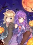 2girls :3 :d ahoge animal animal_ears bangs bare_shoulders bat black_legwear blonde_hair blue_bow blue_eyes blunt_bangs blush bow branch breasts building closed_mouth clouds collared_dress cross-laced_clothes dress eyebrows_visible_through_hair falling_leaves frilled_dress frills hair_bow halloween heterochromia highres hood jack-o'-lantern knee_up leaf long_hair long_sleeves looking_at_viewer looking_back mishuo_(misuo69421) moon multiple_girls night night_sky off_shoulder open_mouth original outdoors pantyhose pumpkin purple_dress purple_hair red_bow red_eyes red_moon robe side-by-side silhouette sitting sky sleeves_past_fingers sleeves_past_wrists small_breasts smile wide_sleeves