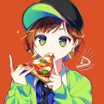 androgynous baseball_cap black_hat black_neckwear blonde_hair blue_eyes blue_shirt brown_hair earrings eating english eyebrows_visible_through_hair food food_themed_earrings green_cardigan green_eyes hair_ornament hairclip hat highres holding holding_food jewelry kaname_monika long_sleeves multicolored multicolored_eyes multicolored_hair necktie original pizza red_background school_uniform shirt short_hair simple_background sleeves_past_wrists striped striped_shirt two-tone_hair upper_body vertical-striped_shirt vertical_stripes yellow_eyes