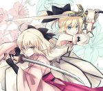 2girls ahoge artoria_pendragon_(all) black_bow blonde_hair bow breasts choker cleavage dress excalibur eyebrows_visible_through_hair fate/grand_order fate_(series) floating_hair flower gloves green_eyes grey_eyes grin hair_between_eyes hair_bow highres holding holding_sword holding_weapon japanese_clothes kimono long_dress long_hair long_sleeves multiple_girls nayu_tundora okita_souji_(fate) okita_souji_(fate)_(all) pink_kimono ponytail saber_lily sleeveless sleeveless_dress small_breasts smile strapless strapless_dress sword weapon white_dress white_gloves white_sleeves