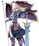 1girl armor banner belt blonde_hair bow breasts commentary_request cowboy_shot earrings flag flagpole gauntlets greatsword greaves hair_bow hair_ribbon high_collar highres huge_weapon jewelry knight large_breasts masao original pauldrons planted_sword planted_weapon red_ribbon ribbon sheath sheathed side_slit solo standing sword weapon white_background wind wind_lift