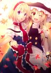 2girls ;d akane_hazuki alice_margatroid apron arm_around_waist autumn_leaves backlighting black_hat blonde_hair blue_dress blue_eyes bow braid capelet dress eyebrows_visible_through_hair hairband hat hat_bow kirisame_marisa long_hair looking_at_viewer multiple_girls one_eye_closed open_mouth red_bow red_hairband red_neckwear short_sleeves single_braid smile standing touhou very_long_hair white_apron white_bow white_capelet yellow_eyes