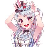 1girl :d alice_in_wonderland animal_ears armpits arms_up bang_dream! bangs black_hat black_neckwear blue_bow blue_hair blush bow bunny_pose chains cosplay dew_(dltmf2266) earrings fake_animal_ears frills hat hat_bow heart heart_earrings jewelry long_hair looking_at_viewer matsubara_kanon neck_ribbon one_side_up open_mouth playing_card_print rabbit_ears ribbon signature simple_background sleeveless smile solo striped top_hat upper_body vertical_stripes violet_eyes white_background white_rabbit white_rabbit_(cosplay) wristband