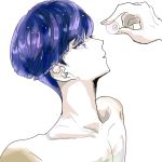 androgynous bangs blue_eyes blue_hair blunt_bangs colored_eyelashes crystal_hair eyeball gyu_nba32 houseki_no_kuni nude out_of_frame phosphophyllite phosphophyllite_(ll) short_hair solo_focus spoilers upper_body white_background white_skin