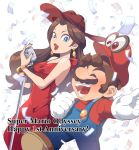 1boy 1girl blue_eyes breasts brown_hair dress earrings facial_hair hat jewelry lipstick long_hair makeup mario mario_(series) mustache nintendo omochi_(glassheart_0u0) pauline_(mario) red_dress short_hair simple_background super_mario_bros. super_mario_odyssey
