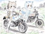 2girls artist_name bangs bird_tail blue_sky bmw brown_coat brown_eyes brown_hair building clouds cloudy_sky coat commentary dated day dirt_road ducati eurasian_eagle_owl_(kemono_friends) fur_collar grass grey_coat ground_vehicle head_wings highres japari_symbol kemono_friends kubota_shinji light_frown long_sleeves looking_at_viewer mary_janes motor_vehicle motorcycle multiple_girls northern_white-faced_owl_(kemono_friends) open_mouth outdoors pantyhose pink_footwear red_eyes riding shoes short_hair signature sitting sky star_(sky) staring starry_sky tree vehicle_request watermark white_coat white_hair white_legwear