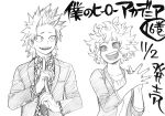 1boy 1girl :d ashido_mina black_sclera boku_no_hero_academia commentary_request eye_contact formal graphite_(medium) greyscale highres horikoshi_kouhei horns jacket kirishima_eijirou looking_at_another messy_hair monochrome necktie open_clothes open_jacket open_mouth sharp_teeth short_hair smile spiky_hair suit teeth traditional_media translation_request