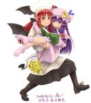 2girls :< alternate_hairstyle apron bangs bat_wings black_footwear black_legwear black_wings blue_bow blunt_bangs blush book bow bright_pupils capelet carrying closed_mouth dated demon_tail dress duster flying_sweatdrops full_body hair_bow hat head_scarf head_wings holding holding_book kanji_(white7night) koakuma long_hair long_sleeves looking_down mob_cap multiple_girls pantyhose patchouli_knowledge pointy_ears princess_carry purple_dress purple_hair purple_hat purple_legwear reading red_bow red_eyes redhead shiny shiny_hair shoelaces shoes sidelocks simple_background socks striped striped_dress sweat tail touhou vertical_stripes violet_eyes walking wavy_mouth white_background wings
