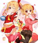 2girls ;p alternate_costume ascot ass bangs bare_shoulders black_footwear black_legwear black_skirt blonde_hair bow bowl box bra breasts buttons cake chocolate_cake commentary_request cream eyebrows_visible_through_hair flandre_scarlet food frilled_skirt frills fruit gift gift_box hair_ribbon hand_up heart highres holding holding_bowl holding_plate jumping long_sleeves looking_at_viewer midriff miniskirt multiple_girls navel off-shoulder_sweater one_eye_closed one_side_up panties panties_under_pantyhose pantyhose pink_legwear pink_sweater plate pleated_skirt pudding red_eyes red_footwear red_ribbon red_shirt red_skirt ribbed_sweater ribbon rumia shiron_(e1na1e2lu2ne3ru3) shirt shoes short_sleeves skirt small_breasts smile star strawberry sweater thigh-highs tongue tongue_out touhou underwear whisk white_background white_bra wings yellow_bow yellow_neckwear