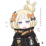 ... 1girl abigail_williams_(fate/grand_order) bangs black_bow black_jacket blonde_hair blue_eyes blush bow colored_eyelashes crossed_bandaids eyebrows_visible_through_hair fate/grand_order fate_(series) hair_bow hair_bun heroic_spirit_traveling_outfit jacket key leaning_to_the_side long_hair long_sleeves looking_at_viewer neon-tetora object_hug open_mouth orange_bow parted_bangs simple_background sleeves_past_fingers sleeves_past_wrists solo star stuffed_animal stuffed_toy teddy_bear trembling upper_body upper_teeth white_background