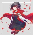 1girl black_dress black_hair cape cloak corset dress flower frilled_dress frills gradient_hair grey_eyes highres hood hooded_cloak iesupa long_sleeves multicolored_hair petals red_cape redhead rose rose_petals ruby_rose rwby short_hair solo two-tone_hair