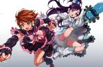 2girls :o arm_warmers belt bike_shorts black_footwear black_gloves black_hair black_shorts black_skirt blue_eyes boots bow brown_eyes cure_black cure_white dress earrings fingerless_gloves frills futari_wa_precure gloves gradient gradient_background grey_background hair_bow hair_ornament half_updo heart heart_earrings heart_hair_ornament highres jewelry kicking knee_boots kneepits long_hair looking_at_viewer magical_girl midriff misumi_nagisa multiple_girls open_mouth pink_bow precure puca-rasu punching shiny shiny_skin short_hair shorts shorts_under_skirt simple_background skirt white_background white_bow white_dress white_footwear yukishiro_honoka
