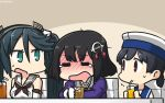 3girls =_= alcohol blue_sailor_collar blush brown_eyes brown_hair brown_neckwear cup dated detached_sleeves drink drinking_glass drinking_straw eyebrows_visible_through_hair gloves green_eyes green_hair haguro_(kantai_collection) hair_ornament hamu_koutarou hat hiburi_(kantai_collection) highres ice isuzu_(kantai_collection) jacket juliet_sleeves kantai_collection long_hair long_sleeves multiple_girls neckerchief open_mouth puffy_sleeves purple_jacket sailor_collar sailor_hat school_uniform serafuku short_hair tears twintails white_gloves white_hat white_sailor_collar