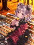 1girl :t autumn autumn_leaves bench black_frills black_ribbon blush commentary_request dress drill_hair eating food food_on_face frills hair_ribbon highres idolmaster idolmaster_cinderella_girls juliet_sleeves kanzaki_ranko long_sleeves puffy_sleeves red_dress red_eyes ribbon silver_hair sitting solo sweet_potato tdnd-96 tree twin_drills twintails yakiimo