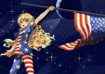 1girl ahoge american_flag_dress american_flag_legwear berabou blonde_hair clownpiece cowboy_shot dress earth flag holding long_hair neck_ruff no_hat no_headwear open_mouth pantyhose red_eyes short_dress short_sleeves solo space standing star star_(sky) star_print striped touhou very_long_hair wavy_mouth