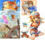 1girl bike_shorts blonde_hair breasts brown_gloves cabbie_hat commentary_request crystal data_(rockman_dash) dinef flutter gloves green_eyes hat jacket long_hair map multiple_boys open_mouth red_shorts rock_volnutt rockman rockman_dash roll_caskett shorts small_breasts smile wheel