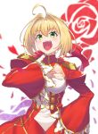 1girl absurdres ahoge bangs blonde_hair blurry blurry_foreground braid breasts commentary depth_of_field dress epaulettes eyebrows_visible_through_hair fate/extra fate/grand_order fate_(series) floral_print flower french_braid green_eyes hair_bun hair_intakes hair_ribbon hand_on_hip hand_on_own_chest highres joker_(tomakin524) juliet_sleeves long_dress long_sleeves looking_at_viewer medium_breasts nero_claudius_(fate) nero_claudius_(fate)_(all) open_mouth puffy_sleeves red_dress red_flower red_petals red_ribbon red_rose ribbon rose rose_print saber_extra short_hair smirk solo standing upper_body