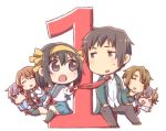 2boys 4girls asahina_mikuru brown_eyes brown_hair chibi closed_eyes commentary_request eyebrows_visible_through_hair hair_ribbon koizumi_itsuki kyon multiple_boys multiple_girls nagato_yuki necktie open_mouth purple_hair ribbon school_uniform serafuku short_hair simple_background skirt smile suzumiya_haruhi suzumiya_haruhi_no_yuuutsu taiki_(6240taiki) violet_eyes watahashi_yasumi white_background