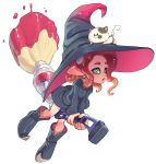 1girl boots broom broom_riding cat dress flying full_body green_eyes hat highres kojajji-kun_(splatoon) long_sleeves nintendo octarian octoling open_mouth pointy_ears redhead rno71 simple_background solo splatoon splatoon_2 tentacle_hair white_background witch witch_hat