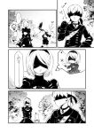 1boy 1girl backpack bag bird blindfold choker cleavage_cutout closed_mouth forest gloves greyscale headband heart highres jewelry mole mole_under_mouth monochrome nature necklace nier_(series) nier_automata pod_(nier_automata) short_hair shorts skirt u-ka_(pixiv5407) yorha_no._2_type_b yorha_no._9_type_s