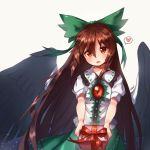 1girl artist_name asrielchu black_wings blush bow box brown_hair cape collared_shirt eyebrows_visible_through_hair feathered_wings gift gift_box green_bow green_skirt hair_between_eyes hair_bow head_tilt heart holding holding_gift long_hair looking_at_viewer parted_lips puffy_short_sleeves puffy_sleeves red_eyes red_ribbon reiuji_utsuho ribbon shiny shirt short_sleeves simple_background skirt smile solo spoken_heart third_eye touhou upper_body very_long_hair white_background white_shirt wing_collar wings