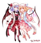 2girls alternate_costume bare_legs bat_wings black_footwear black_wings blonde_hair boots breasts commentary_request cross fangs flandre_scarlet full_body garter_straps gem hat hat_ribbon highres layered_skirt long_sleeves looking_at_viewer mob_cap multiple_girls open_mouth pink_footwear pink_hat pink_skirt puffy_long_sleeves puffy_sleeves red_eyes red_ribbon red_skirt remilia_scarlet ribbon shan siblings simple_background single_thighhigh sisters skirt small_breasts smile thigh-highs touhou white_background white_hat wings wrist_cuffs