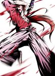 1boy agatsu_yudume blood blood_splatter floating_hair grey_hakama hair_between_eyes hakama himura_kenshin holding holding_sword holding_weapon japanese_clothes katana kimono long_hair male_focus ponytail red_eyes red_kimono redhead rurouni_kenshin solo sword very_long_hair weapon white_background