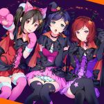 3girls :o bangs bat_wings black_bow black_hair bow breasts brown_eyes choker dress elbow_gloves eyebrows_visible_through_hair finger_to_cheek gloves green_eyes hair_bow hairband halloween halloween_costume hat highres kate_iwana large_breasts long_hair looking_at_viewer love_live! love_live!_school_idol_project low_twintails multiple_girls nico_nico_nii nishikino_maki open_mouth paws pink_dress purple_dress purple_hair red_dress redhead short_hair sitting skirt star thigh-highs tongue tongue_out toujou_nozomi twintails violet_eyes wings witch_hat yazawa_nico