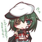 1girl bangs black_cape blush_stickers brown_gloves cape commentary_request eyebrows_visible_through_hair eyepatch flying_sweatdrops food gloves green_eyes green_hair hair_between_eyes hat holding holding_spoon kantai_collection kiso_(kantai_collection) komakoma_(magicaltale) looking_at_viewer midriff navel parted_lips peaked_cap pleated_skirt pudding shirt short_sleeves sideways_hat simple_background skirt solo spoon translation_request white_background white_hat white_shirt white_skirt
