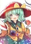 1girl :d black_hat blue_eyes bow crystal dress green_hair hat hat_ribbon highres holding holding_knife jack-o'-lantern knife komeiji_koishi long_sleeves looking_at_viewer open_eyes open_mouth ribbon rpameri short_hair smile solo tagme touhou weapon white_background wide_sleeves wire yellow_bow