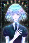 1other androgynous colored_eyelashes crystal_hair diamond_(houseki_no_kuni) elbow_gloves esol_98 eyebrows_visible_through_hair gem_uniform_(houseki_no_kuni) gloves hand_on_own_chest heterochromia highres houseki_no_kuni looking_at_viewer multicolored multicolored_eyes multicolored_hair necktie rainbow_eyes rainbow_hair short_hair solo upper_body white_skin