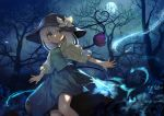 1girl adapted_costume bangs bare_tree black_hat bow forest full_moon green_eyes green_skirt green_vest hat hat_bow heart heart_of_string highres komeiji_koishi looking_to_the_side medium_hair miniskirt moon nature night night_sky onion_(onion_and_pi-natto) outdoors outstretched_arms puffy_sleeves shirt silver_hair skirt skirt_set sky solo third_eye touhou tree vest white_bow yellow_shirt