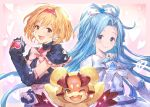 2girls :d blonde_hair brown_eyes cosplay cure_black cure_black_(cosplay) cure_white cure_white_(cosplay) djeeta_(granblue_fantasy) earrings frills futari_wa_precure granblue_fantasy hair_ribbon headband heart jewelry light_blue_hair long_hair lyria_(granblue_fantasy) mepple multiple_girls official_art one_eye_closed open_mouth ponytail precure ribbon short_hair smile vee_(granblue_fantasy)