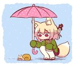 1girl animal_ear_fluff animal_ears animalization bangs bell bell_collar blonde_hair blush brown_collar chibi collar eyebrows_visible_through_hair fox_ears fox_girl fox_tail green_shirt hair_between_eyes hair_bun hair_ornament holding holding_umbrella jingle_bell kemomimi-chan_(naga_u) long_hair long_sleeves looking_away looking_down naga_u original outdoors pink_umbrella pleated_skirt polka_dot polka_dot_umbrella purple_skirt rain red_eyes red_footwear ribbon-trimmed_legwear ribbon_trim shell shirt sidelocks skirt sleeves_past_fingers sleeves_past_wrists snail solo squatting tail thigh-highs umbrella white_legwear zouri