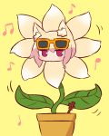 1girl bangs beamed_eighth_notes blonde_hair blush brown_flower dancing_flower eighth_note eyebrows_visible_through_hair eyewear_on_head hair_between_eyes kemomimi-chan_(naga_u) long_hair looking_at_viewer musical_note naga_u orange-framed_eyewear original plant potted_plant quarter_note red_eyes sidelocks simple_background solo sunglasses yellow_background