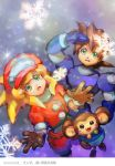 1girl bike_shorts blonde_hair breasts brown_gloves cabbie_hat commentary_request data_(rockman_dash) dinef gloves green_eyes hat jacket long_hair open_mouth red_shorts rock_volnutt rockman rockman_dash roll_caskett shorts small_breasts smile snow