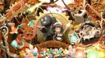 1girl apron arm_up black_dress black_hair blush book bottle bucket cauldron chibi closed_mouth commentary_request copyright_name crate crystal dress english flower frilled_apron frills gears gem gold_bar gun highres holding holding_sword holding_weapon katana maid maid_headdress minecraft nekoita open_book pickaxe red_eyes romaji round-bottom_flask sheath sheathed shovel solid_oval_eyes standing steam sword twintails wand weapon white_apron