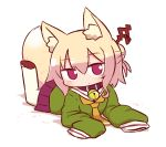 1girl animal_ear_fluff animal_ears bangs bell bell_collar blonde_hair blush brown_collar chibi closed_mouth collar eyebrows_visible_through_hair fox_ears fox_girl fox_tail full_body green_shirt hair_between_eyes hair_bun hair_ornament head_tilt jingle_bell kemomimi-chan_(naga_u) legs_up long_hair long_sleeves looking_at_viewer lying naga_u on_stomach orange_neckwear original pantyhose pleated_skirt purple_skirt red_eyes red_footwear sailor_collar school_uniform serafuku shirt shoe_soles sidelocks skirt sleeves_past_fingers sleeves_past_wrists solo tail tail_raised white_background white_legwear white_sailor_collar