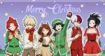 2girls 4boys :o all_might animal_costume animal_ears antlers bakugou_katsuki black_choker black_eyes black_gloves black_hair blue_eyes blush_stickers boku_no_hero_academia breasts brown_dress brown_eyes brown_gloves brown_hair brown_pants capelet choker christmas christmas_lights cleavage closed_eyes collarbone commentary dress english_commentary freckles fur-trimmed_capelet fur-trimmed_dress fur-trimmed_hat fur_trim gloves green_coat green_eyes green_hair green_pants green_santa_costume green_shirt grey_eyes grin hat hat_ornament heterochromia highres holly kirishima_eijirou large_breasts light_brown_hair long_hair merry_christmas messy_hair midoriya_izuku multicolored_hair multiple_boys multiple_girls pants ponytail red_eyes red_pants red_scarf red_vest redhead reindeer_antlers reindeer_costume reindeer_ears santa_costume santa_hat sara_bonetti scarf shirt short_hair smile spiky_hair striped striped_pants todoroki_shouto two-tone_hair uraraka_ochako v vest white_hair white_shirt yaoyorozu_momo