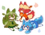 3girls :< :o animal_ears bangs bell bell_collar blonde_hair blue_eyes blue_footwear blue_hair blue_shirt blue_skirt blush closed_mouth collar eyebrows_visible_through_hair fire fox_ears fox_girl fox_tail gradient_hair green_collar green_eyes green_footwear green_hair green_shirt green_skirt hair_between_eyes hair_bun hair_ornament jingle_bell kemomimi-chan_(naga_u) leaf long_sleeves looking_at_viewer lying multicolored_hair multiple_girls naga_u on_stomach orange_eyes orange_shirt original parted_lips plant_girl pleated_skirt red_collar red_footwear red_skirt redhead ribbon-trimmed_legwear ribbon_trim sailor_collar school_uniform serafuku shirt sidelocks sitting skirt sleeves_past_fingers sleeves_past_wrists soles tail thick_eyebrows thigh-highs water_drop white_background white_legwear white_sailor_collar zouri