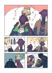 1girl 2boys bondrewd comic crying helmet hurt jacket made_in_abyss meinya_(made_in_abyss) multicolored_hair multiple_boys open_mouth prushka saiko67 short_hair silent_comic simple_background size_difference whistle