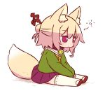 1girl animal_ear_fluff animal_ears bangs bell bell_collar between_legs blonde_hair blush brown_collar chibi closed_mouth collar eyebrows_visible_through_hair fox_ears fox_girl fox_tail full_body green_shirt hair_between_eyes hair_bun hair_ornament hand_between_legs jingle_bell kemomimi-chan_(naga_u) long_hair long_sleeves looking_away naga_u orange_neckwear original pleated_skirt purple_skirt red_eyes red_footwear ribbon-trimmed_legwear ribbon_trim sailor_collar school_uniform serafuku shirt sidelocks sitting skirt sleeves_past_fingers sleeves_past_wrists solo tail thigh-highs white_background white_legwear white_sailor_collar zouri