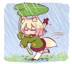 1girl bangs bell bell_collar blonde_hair blush brown_collar chibi closed_eyes collar eyebrows_visible_through_hair facing_viewer flying_sweatdrops green_shirt hair_bun hair_ornament holding holding_leaf jingle_bell kemomimi-chan_(naga_u) leaf leaf_umbrella long_hair long_sleeves naga_u orange_neckwear original outdoors parted_lips pleated_skirt purple_skirt rain red_footwear ribbon-trimmed_legwear ribbon_trim running sailor_collar school_uniform serafuku shirt sidelocks skirt sleeves_past_fingers sleeves_past_wrists solo speed_lines thigh-highs water white_legwear white_sailor_collar zouri