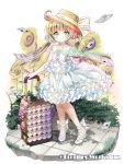 1girl absurdres blue_eyes blush book bow brown_hair company_name copyright_name flat_chest flower full_body hat hat_bow highres holding holding_book kurotana_rikai long_hair official_art open_book outdoors paper pink_bow rolling_suitcase sidewalk skirt smile standing straw_hat suitcase sunflower twintails white_bow white_footwear white_skirt