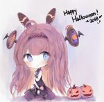 1girl 2018 :p ahoge bangs bare_arms bare_shoulders big_head black_legwear black_vest black_wings blue_eyes blush bow candy chibi closed_mouth commentary cottontailtokki eyebrows_visible_through_hair food hair_between_eyes halloween happy_halloween highres holding holding_food holding_lollipop jack-o'-lantern lishenna_omen_of_destruction lollipop long_hair purple_bow purple_footwear purple_skirt redhead shadowverse shirt shoes skirt sleeveless sleeveless_shirt smile solo swirl_lollipop thigh-highs tongue tongue_out very_long_hair vest white_shirt wings