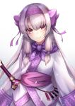 1girl ainu_clothes bangs blush bow closed_mouth commentary_request eyebrows_visible_through_hair fate/grand_order fate_(series) gradient gradient_background grey_background hair_between_eyes hair_bow hairband head_tilt illyasviel_von_einzbern light_brown_hair long_hair long_sleeves pink_hairband purple_bow red_eyes sidelocks sitonai smile solo sword upper_body very_long_hair weapon white_background wide_sleeves yukihama